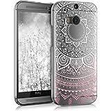 kwmobile Hülle für HTC One M8 / Dual - Crystal Case Handy Schutzhülle Kunststoff - Backcover Cover klar Indische Sonne Design Rosa Weiß Transparent
