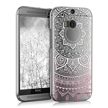 kwmobile Funda para HTC One M8 / Dual - Carcasa de [plástico] para móvil - Protector [Trasero] en [Rosa Claro/Blanco/Transparente]