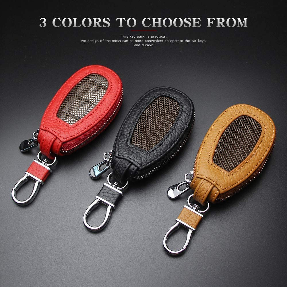 VSLIH Car Key Holder,Genuine Leather Car Smart Key Cover Keychain case Metal Hook and Keyring Zipper Wallet for Auto Remote Key Fob Red