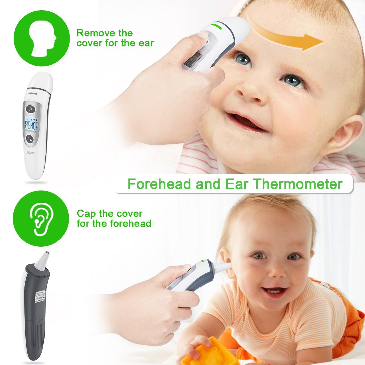 Forehead and Ear Thermometer, THZY Upgraded Digital Infrared Thermometer with Fever Indicator, Dual Mode Body Thermometer Suitable for Baby, Infants, Toddlers and Adult CE&FDA Approved by THZY (Image #2)