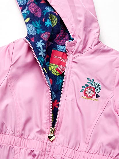 LONDON FOG Girls Fleece Lined Midweight Jacket with Rouched Waist