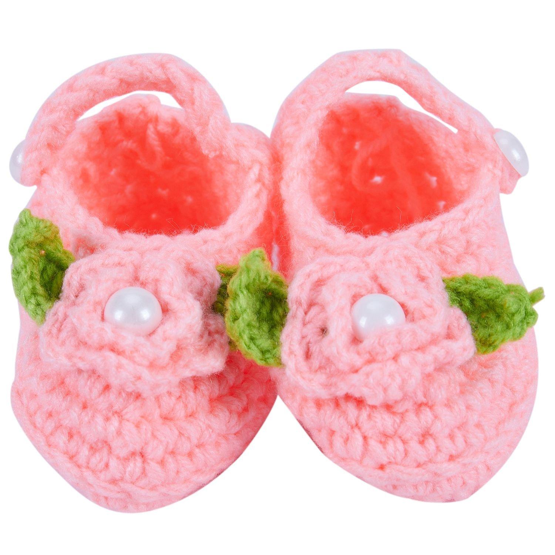Naranja TOOGOO Bebe Nino Recien Nacido Caliente Hecho a Mano Lana Suave del Punto de Media Flores Zapatos
