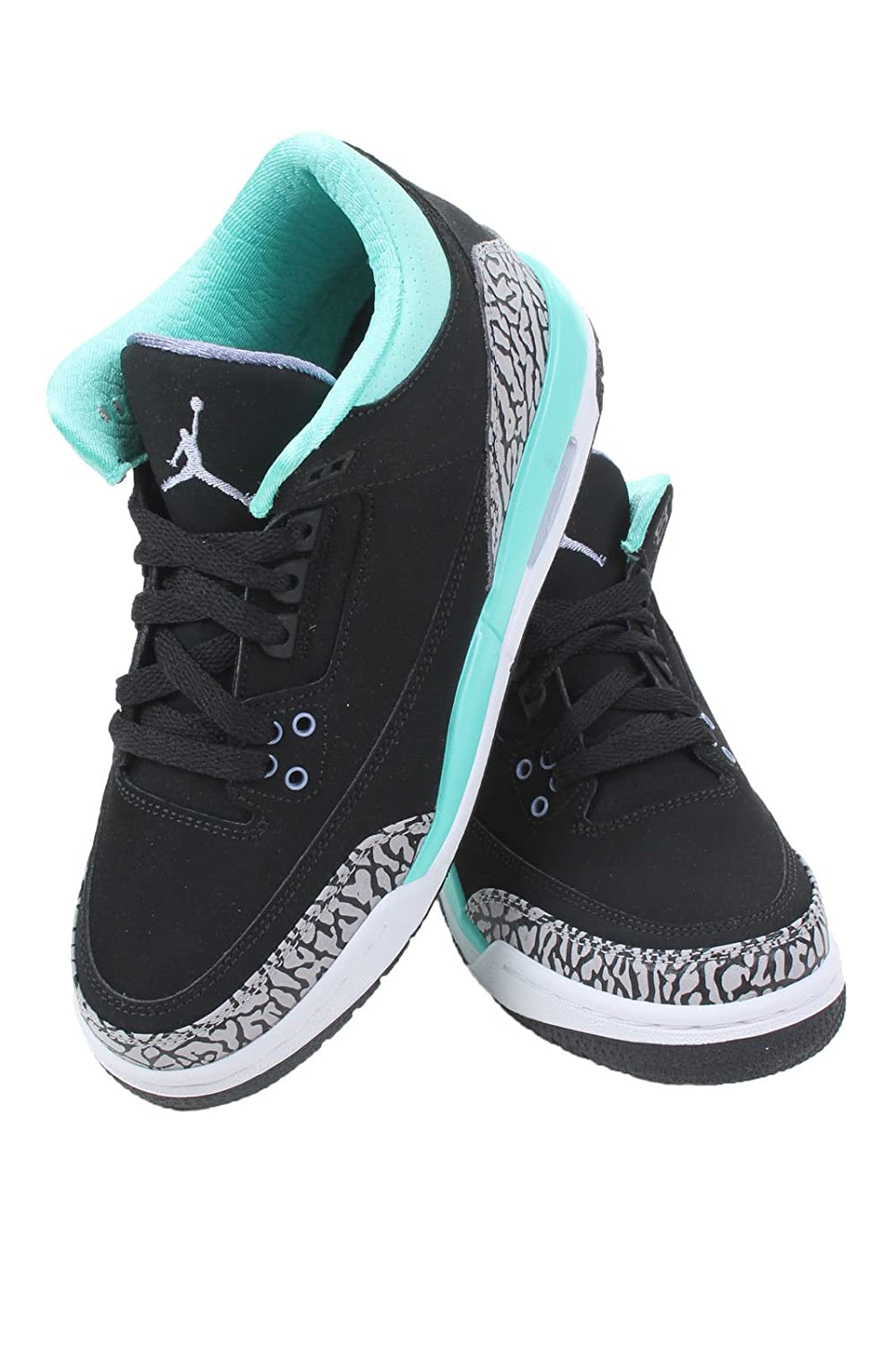 on sale d37a5 18db1 Amazon.com  Nike Girls Air Jordan 3 Retro (GS) Kids Black Bleached  Turquoise Wolf Grey Iron Purple 441140-045 (SIZE  6.5Y)  Shoes
