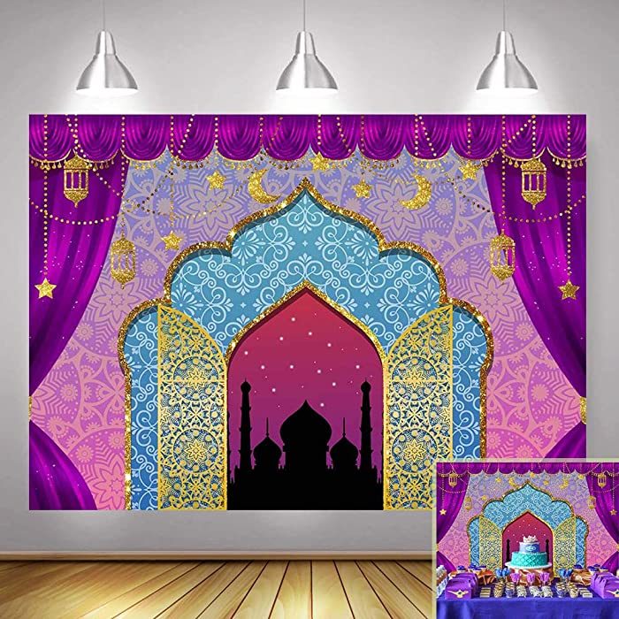 Aladdin Backdrop Photography Arabian Moroccan Nights Birthday Party Magic Genie Indian Luxurious Photo Background Princess Baby Shower Vinyl 7x5ft Photo Booth Studio Props