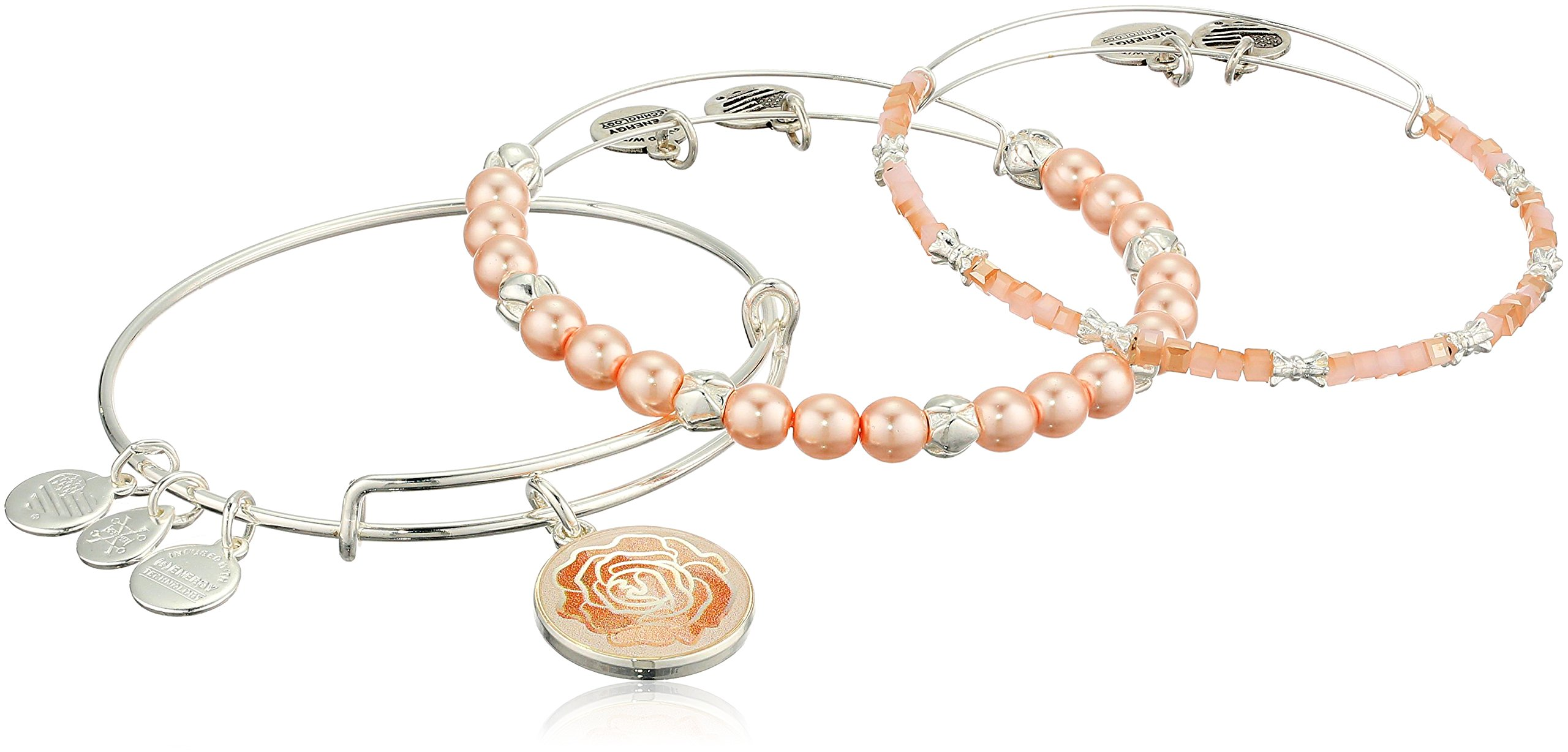 Alex and Ani Women's Art Infusion, Rose Set of 3 Bangle Bracelet, Shiny Silver, Expandable