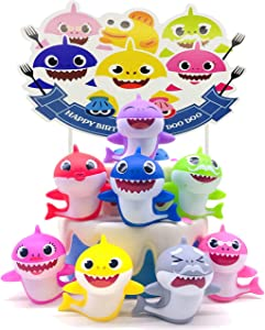 Baby Shark Cake Toppers Little Shark Cake Decorations for Kids Shark Theme Birthday Party Baby Shower