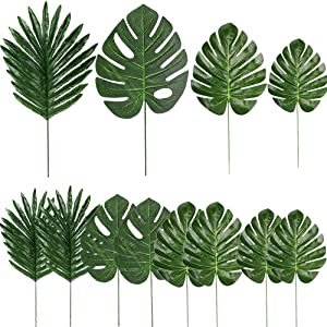 48 Pieces 4 Kinds Artificial Tropical Palm Leaves with Stems Faux Plant Leaves Monstera Leaves Safari Leaves for Hawaiian Luau Party Jungle Beach Table Leave Decorations