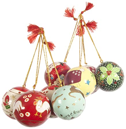 Christbaumkugeln Pappmache.Ian Snow Set Of 8 Papier Mache Christmas Baubles