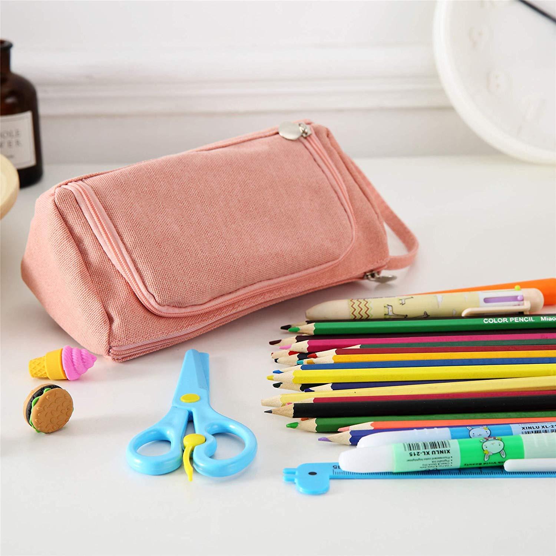 Rosa NEALLE Federm/äppchen Bleistift Beutel Stiftetasche M/äppchen Gro/ße Kapazit/ät f/ür Junge M/ädchen Teenager Schule Erwachsene/