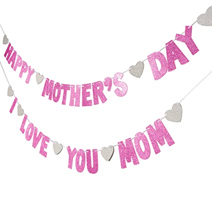TOODOO 2 String Glitter Happy Mothers Day Banners With Heart For Decoration