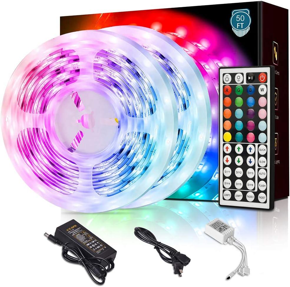 Yonlisdor Led Strip Lights 50ft 15m with 44 Keys IR Remote and 12V Power Supply Flexible Color Changing 5050 RGB Light Strips Kit for Home, Bedroom, Ceiling, Kitchen, Cupboard, DIY Decoration