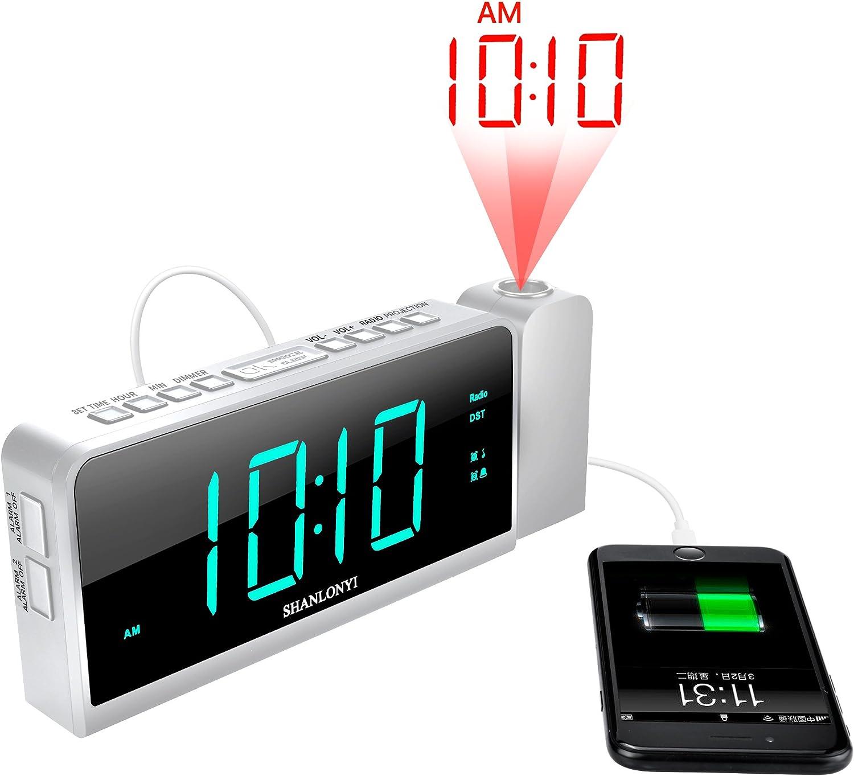 SHANLONYI Radio Despertador Digital con Pantalla 9 Repetici/ón de Alarma 12//24H Led Cian Radio FM 3 Niveles de Intensidad Ancianos Personas de Sue/ño Pesado Auto DST Cargador USB para Ni/ños
