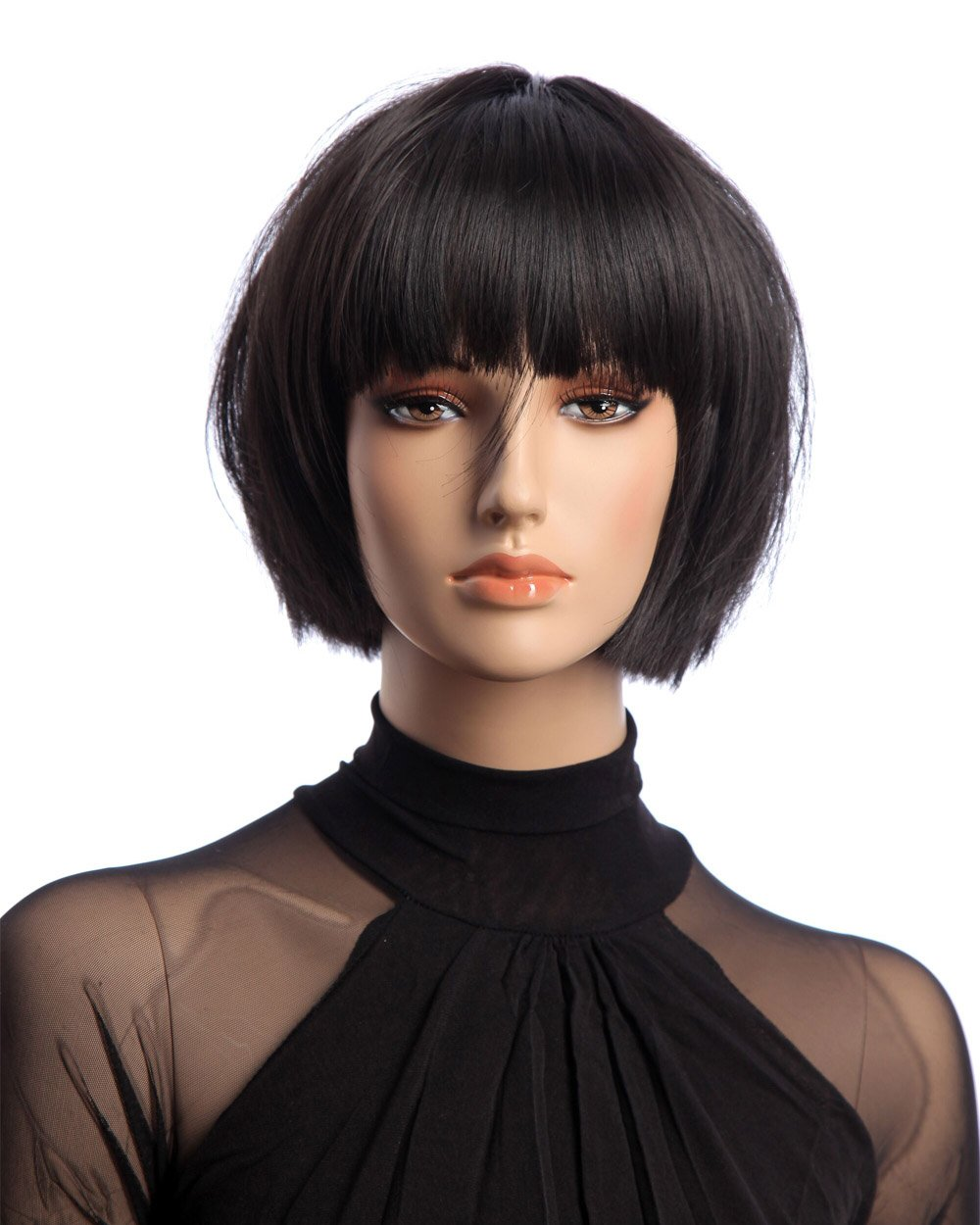 Tsnomore Trendy Dapper Short Straight White Women Bob Wig with Full Bang (Black) Qingdao