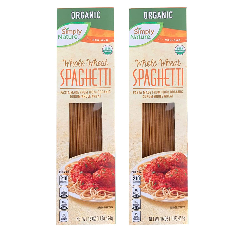 Simply Nature USDA Organic Durum Wheat Semolina NON-Gmo (Organic Spaghetti Whole Wheat, 2 Pack)