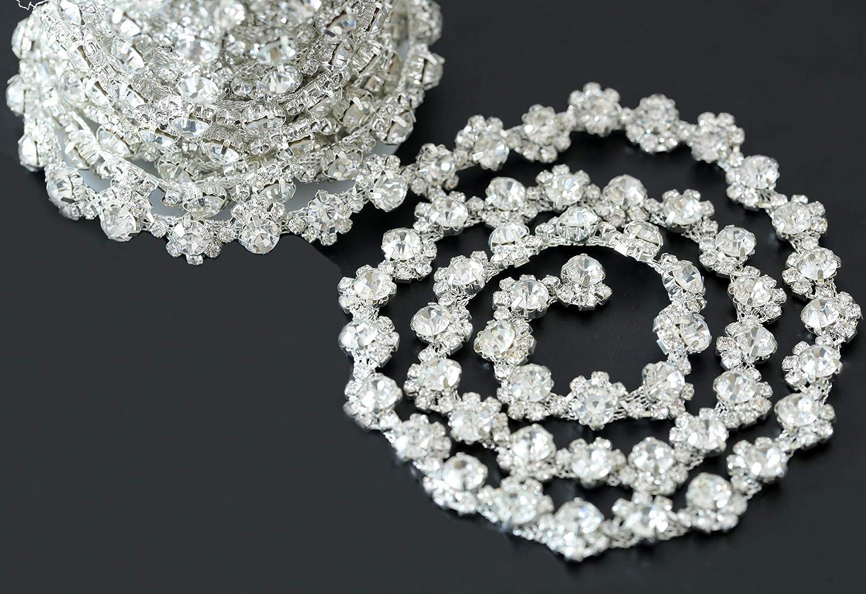 BLINGINBOX Kette 91,4 cm SS8+SS34 Strasssteine Silber Kralle Kristall zum Aufn/ähen auf Strass Cup Kette mit silberner Basis