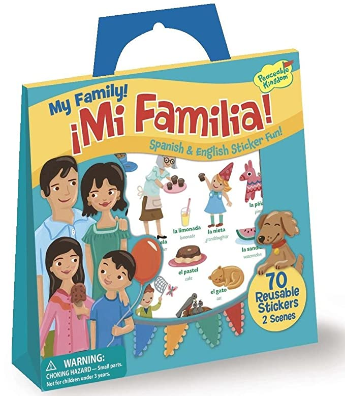 Amazon.com: Peaceable Kingdom My Family! ~ Mi Familia! Spanish and English Reusable Sticker Tote: Toys & Games