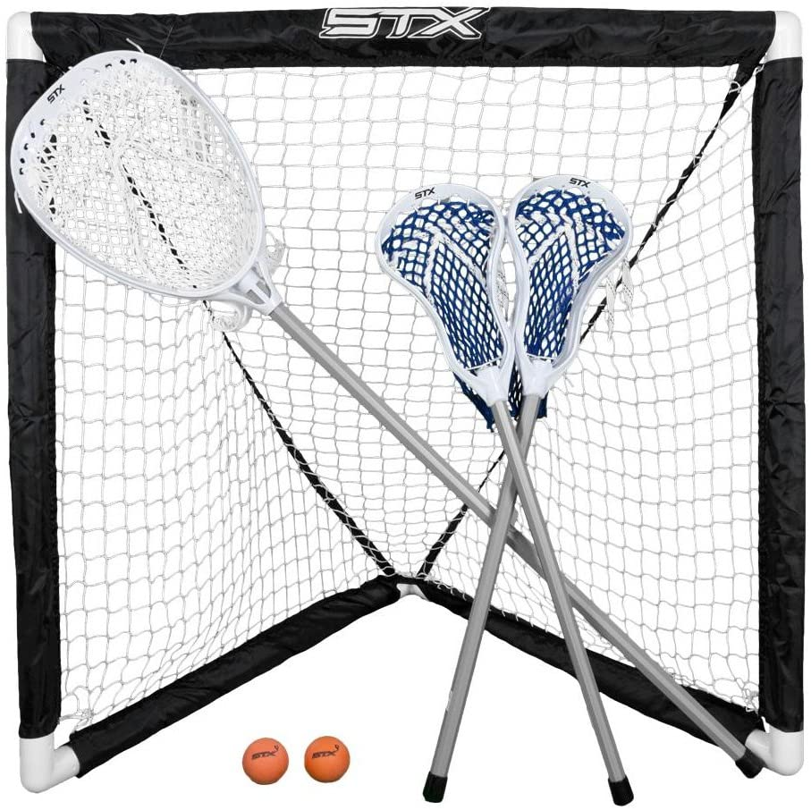 STX FiddleSTX Three Player Game Set with Two Field Player Sticks One Goalie Stick Mini Goal and Balls : Lacrosse Sticks : Sports & Outdoors