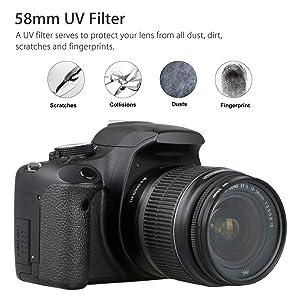 EEEKit 58mm Hard Lens Hood + 58mm Soft Lens Hood + 58mm UV Filter Lens Kit for Canon Rebel T7i T6S T6i T6 T5i T5 T4i T3i T3 T2i T1i XT XTi XSi SL1