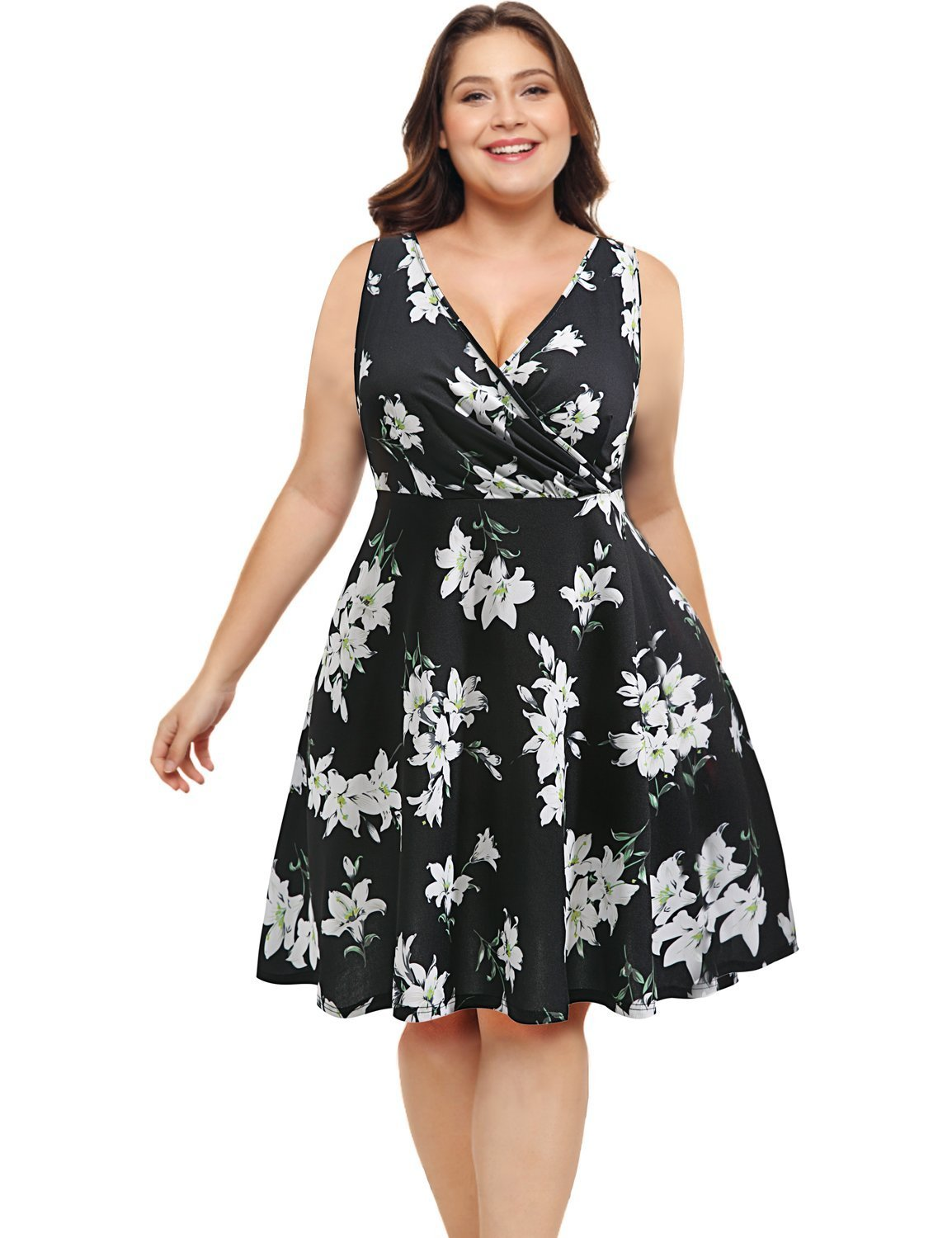 Pinup Fashion V Neck Sleeveless Summer Flare Floral Casual Plus Size Dress for Women Black XL (18/20 Plus)