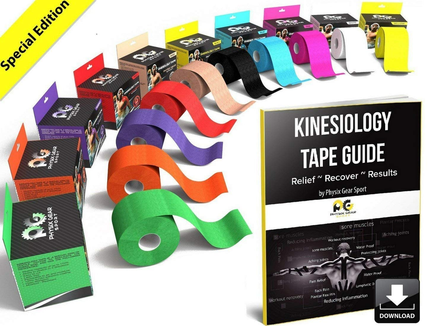 Physix Gear Sport Kinesiology Tape - Free Illustrated E-Guide - 16ft Uncut Roll - Best Pain Relief Adhesive for Muscles, Shin Splints Knee & Shoulder - 24/7 Waterproof Therapeutic Aid (1PK YEL)