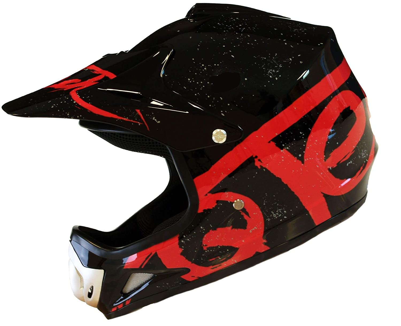 Bleu 51-52cm Casque de Moto pour Enfant Motocross Cross Off-Road BMX Cycle Noir Mat ATV Quad XS
