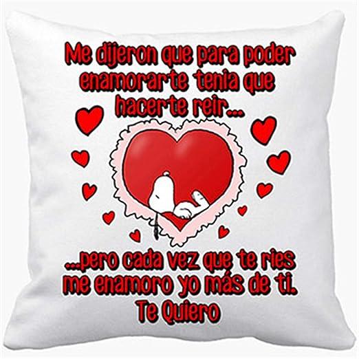 Cojín con Relleno Frase de Amor me enamoro yo más de ti te ...