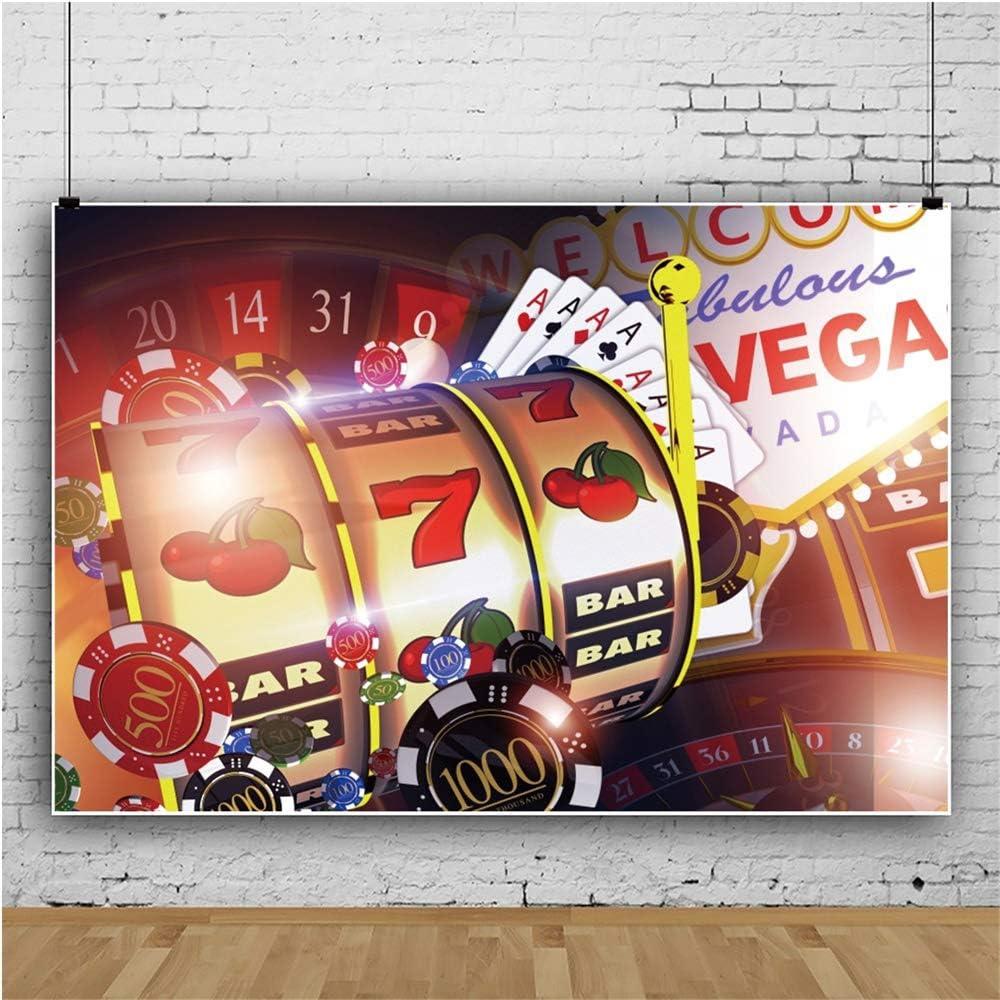 Haoyiyi 10x8ft Welcome to Fabulous Las Vegas Navada Backdrop Poker Turntable Gamble Roulette Wheel Chips Photography Background Adults Bridal Shower Birthday Wedding Travel Photo Portrait Decor
