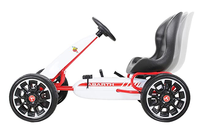 PEQUENENES Kart Coche de Pedales Fiat Abarth de CARS12V, Ruedas neumaticas, carenado de Proteccion, Freno de Mano, Asiento Regulable de Cuero (Blanco): ...