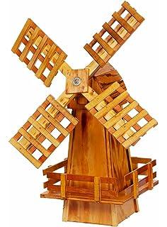 Amazoncom Wooden Windmill Medium Amish Made With Varnished Burnt