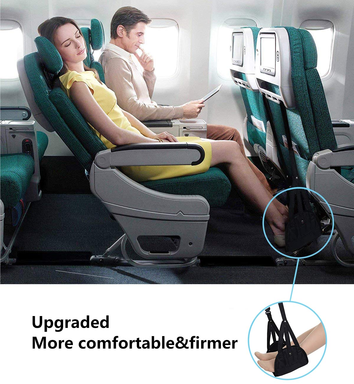 Airplane footrest, Portable Airplane Travel Foot Rest Hammock for Flight Bus Train Office Home Airplane Travel Accessories Legs Hammock with Adjustable Height,Black,Vefanny by Verfanny (Image #6)