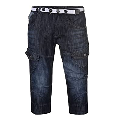 No Fear Hombre Pantalones Cortos Vaqueros Cargo con Cinturón ...
