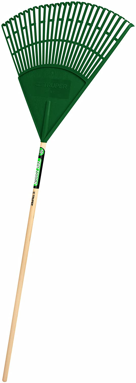 Truper 989516 Tru Tough 48 Plastic Leaf Rake, 22-Inch Head, Wood Handle