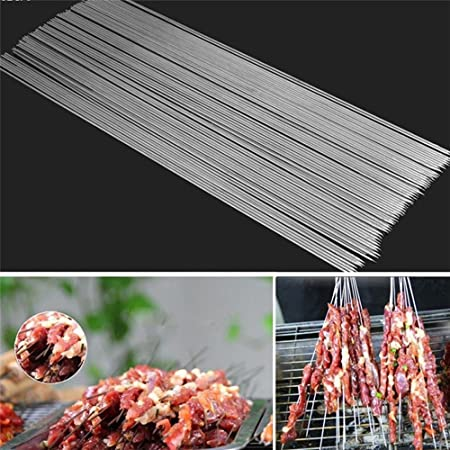 Demarkt BBQ Skewers Set 30 Pcs Stainless Steel Barbecue Grill Skewers Stick Kebab Camping Outdoor Barbecue Tool
