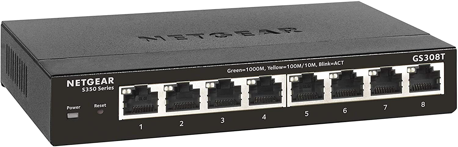 NETGEAR 8-Port Gigabit Ethernet Smart Managed Pro Switch (GS308T) - Desktop, Fanless Housing for Quiet Operation, S350 Series