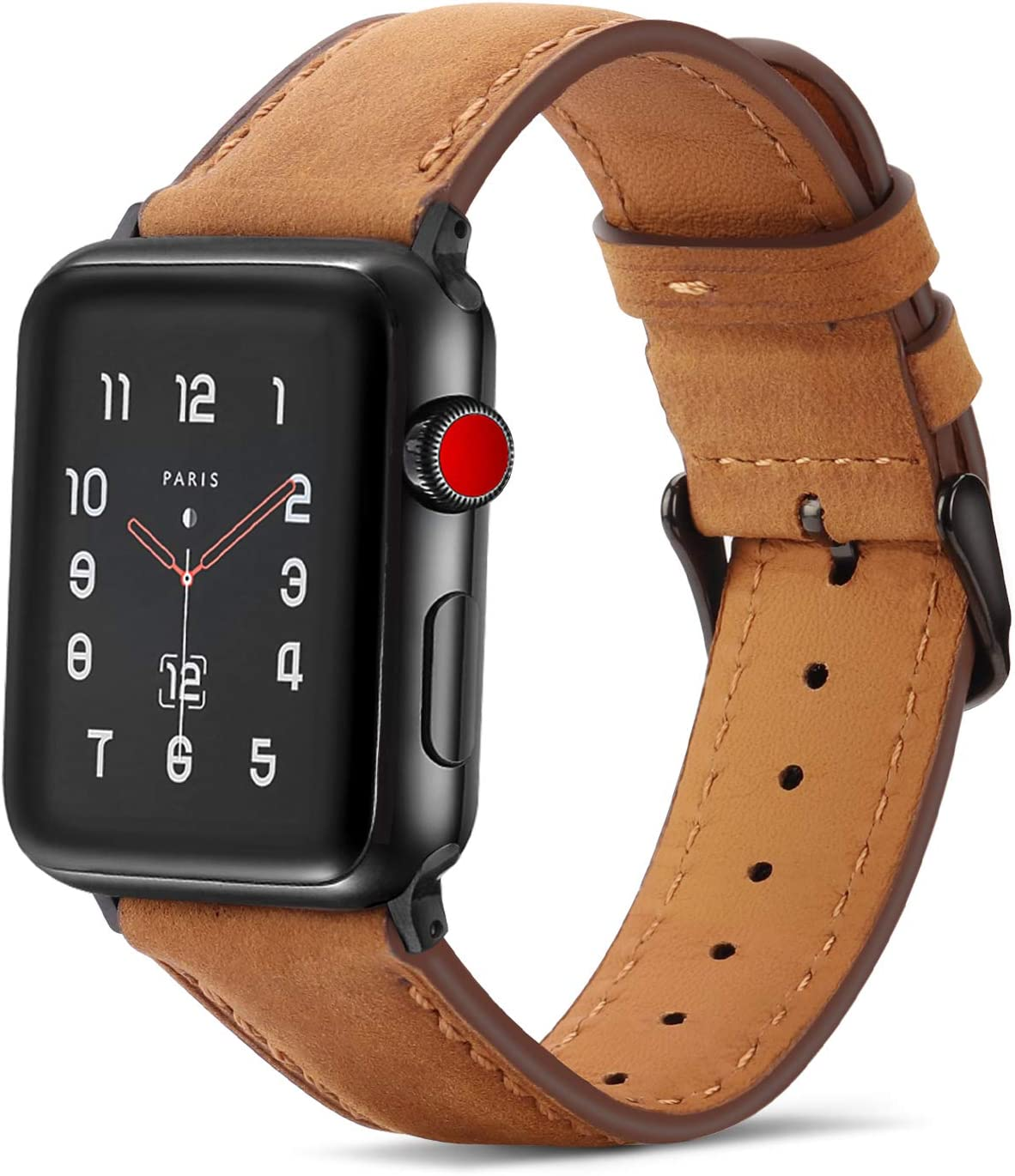 Tasikar Bands Compatible with Apple Watch Band 44mm 42mm Premium Genuine Leather Replacement Band Compatible with Apple Watch SE Series 6 5 4 (44mm) Series 3 2 1 (42mm) - Brown
