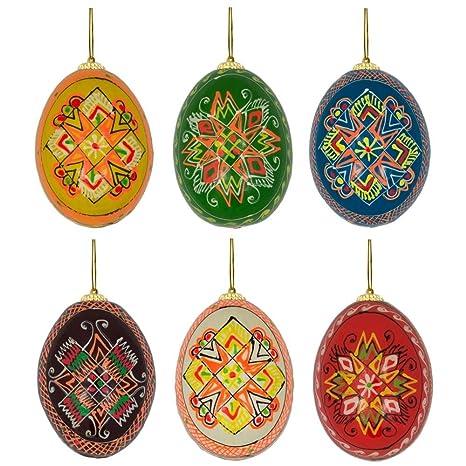 Set of 6 Stars Ukrainian Pysanky Wooden Easter Egg Ornaments 2.5 Inches - Amazon.com: Set Of 6 Stars Ukrainian Pysanky Wooden Easter Egg