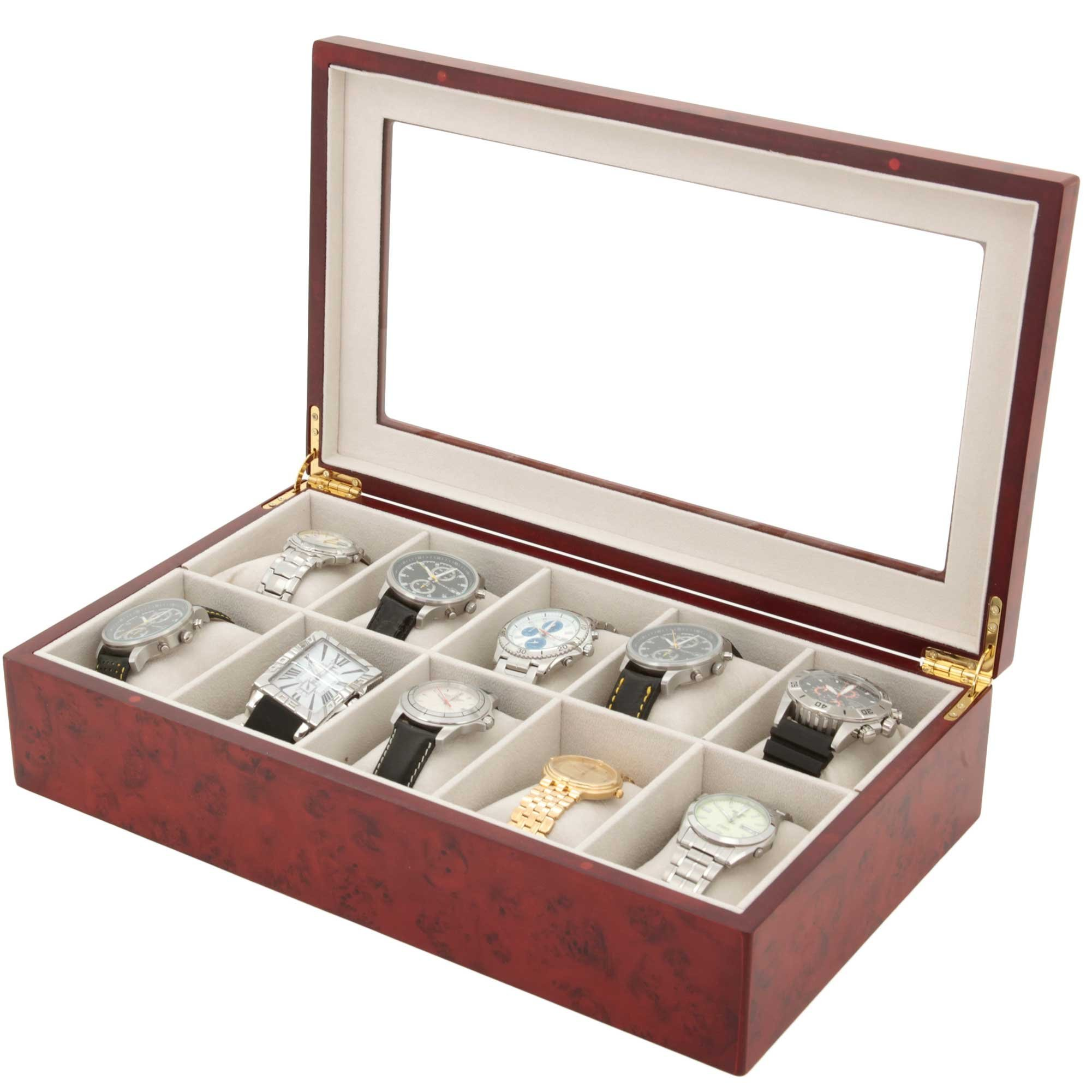 Watch Box for 10 Watches Wood Finish XL Extra Large Compartments Fits 63mm Soft Cushions Clearance Glass Window (Burlwood)