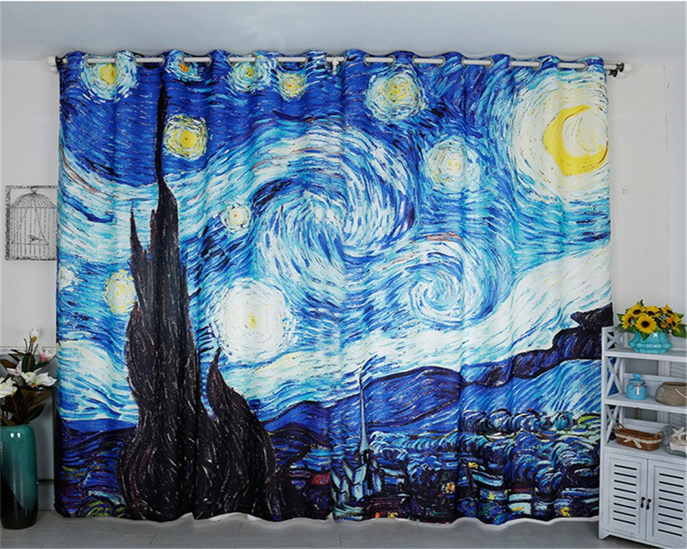 Jameswish Gorgeous 3D Star Oil Painting Blackout Window Curtains European Fashion Thermal Insulated Hooked 1 Panel Curtains For Living Room Bedroom Restaurant