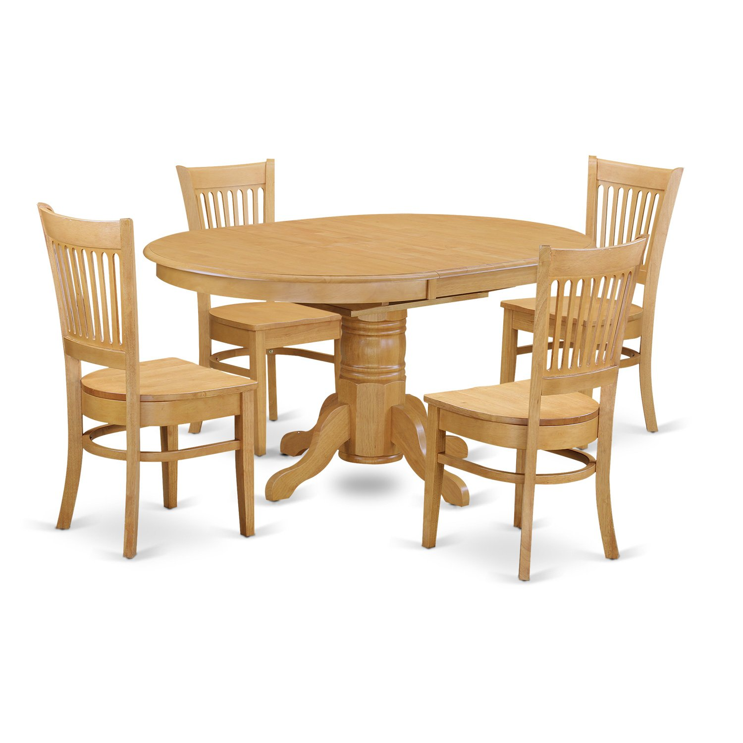 Amazon.com   East West Furniture AVVA5 OAK W 5 Piece Dining Table Set    Table U0026 Chair Sets