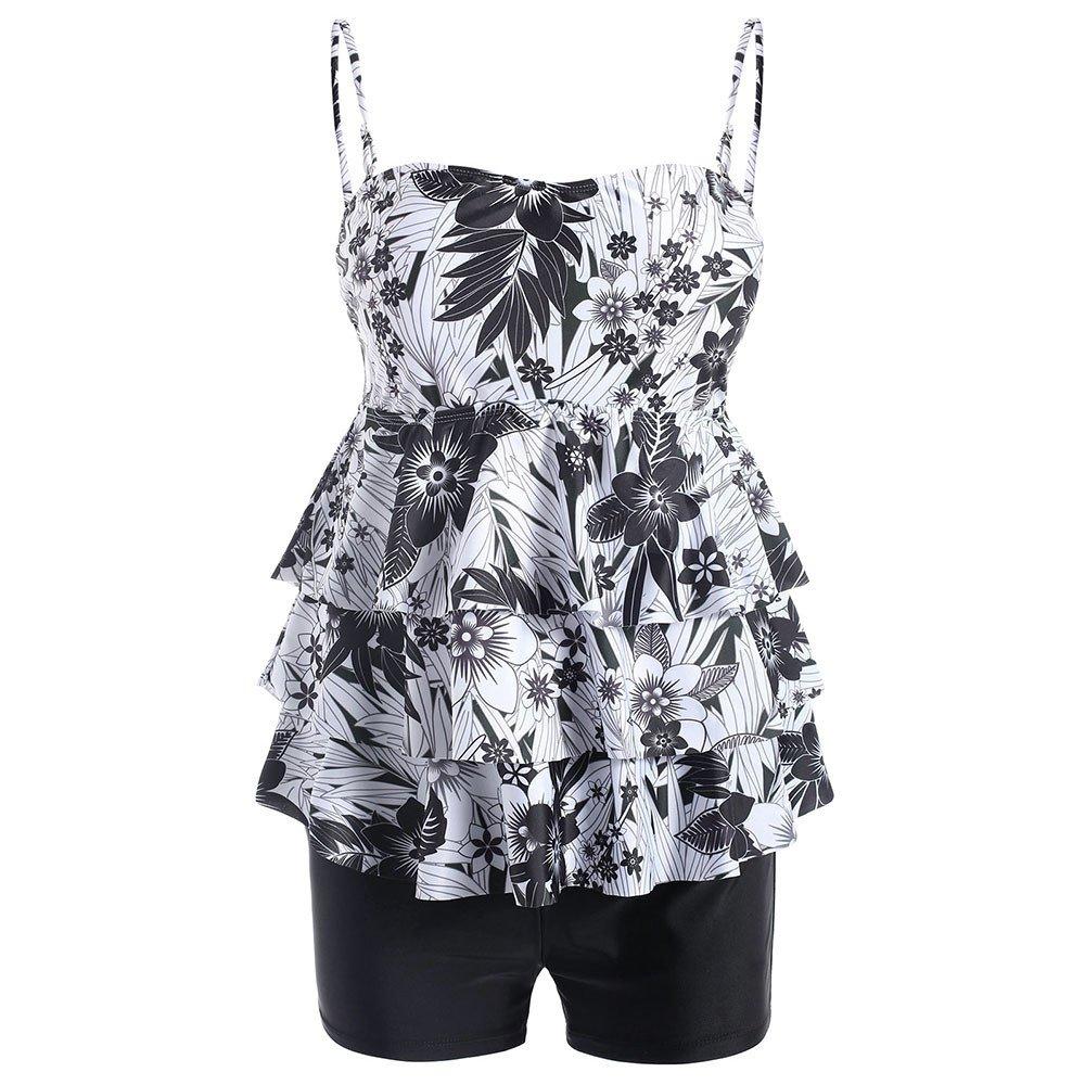Libermall Women's Sexy Plus Size Flounce Halter Tops with Boyshort Tankini Set Two Piece Swimsuit Bathing Suit Swimwear R-Black