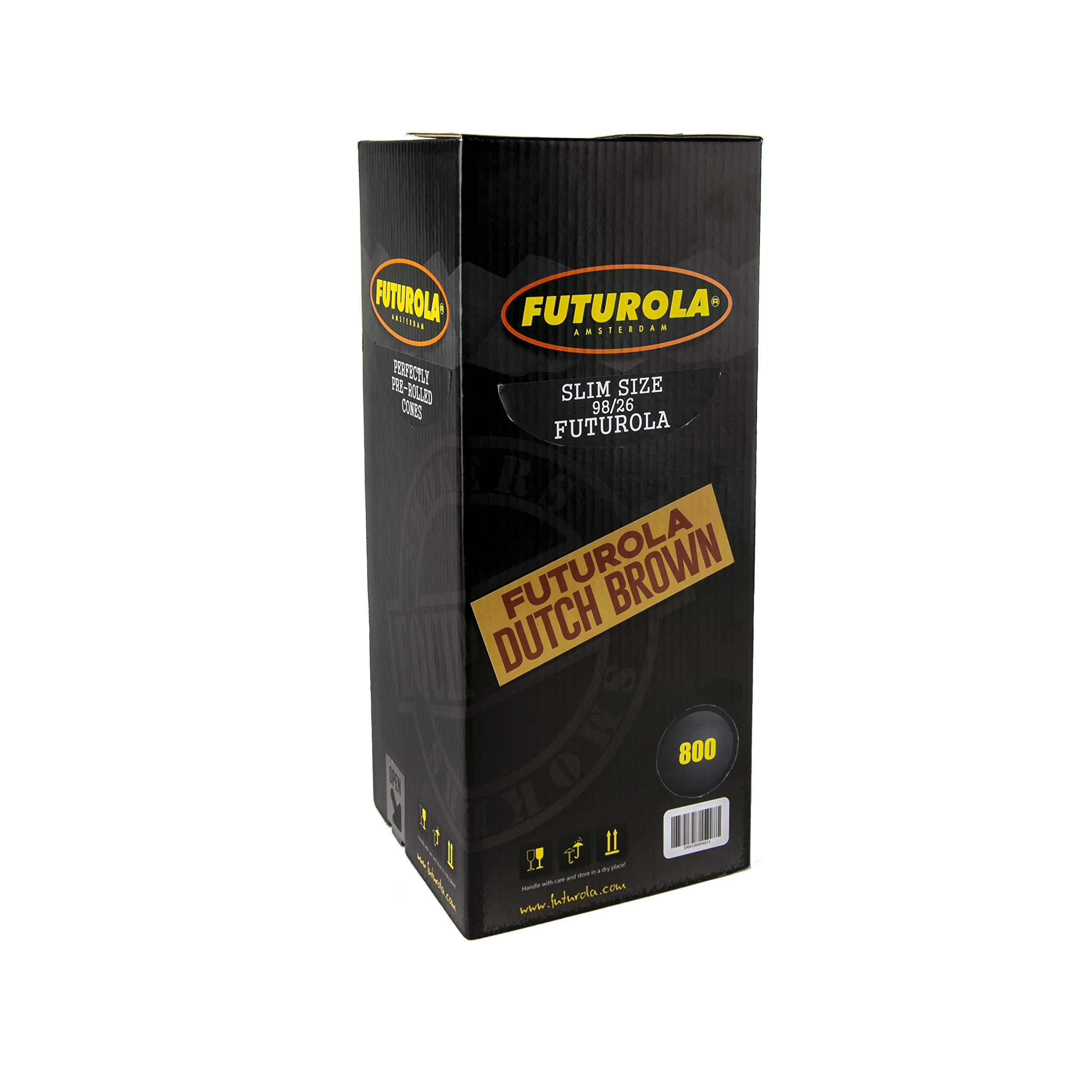 Futurola - Unrefined Super Thin Pre Rolled Cones - (800, Slim 98/26mm - Dutch Brown)
