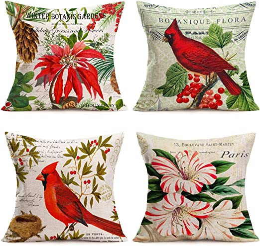 Amazon Com Asminifor 4 Pack Throw Pillow Covers Multicolor Vintage Bird Flower Red Cardinal With Mistletoe Painting Decorative Pillow Covers Cushion Cases Cotton Linen Square Pillowcase 18 Inch Red Bird Flower Home