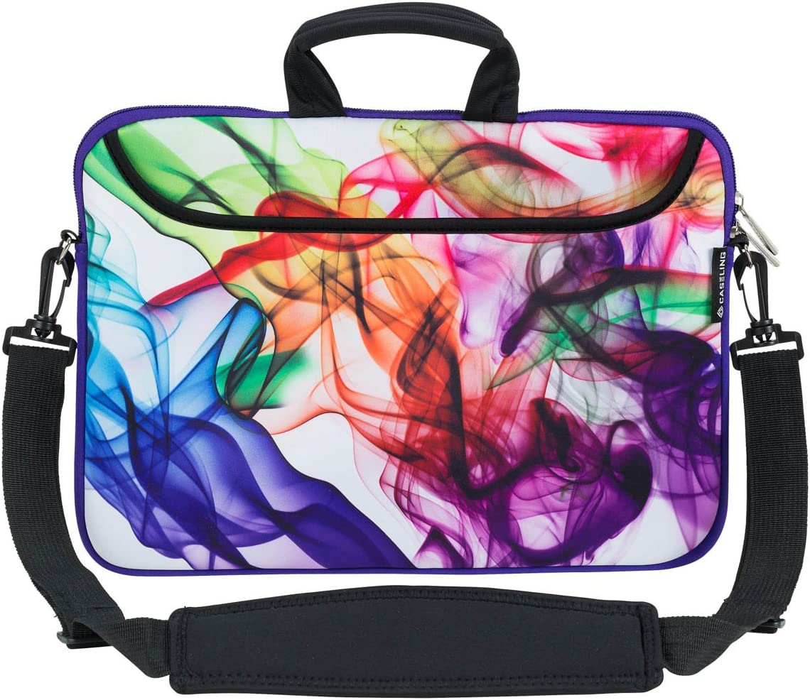 Caseling 13-13.3 inch Laptop Computer Neoprene Sleeve Carrying Case Bag with Handle, Adjustable Shoulder Strap & Extra Pocket. - Colorful
