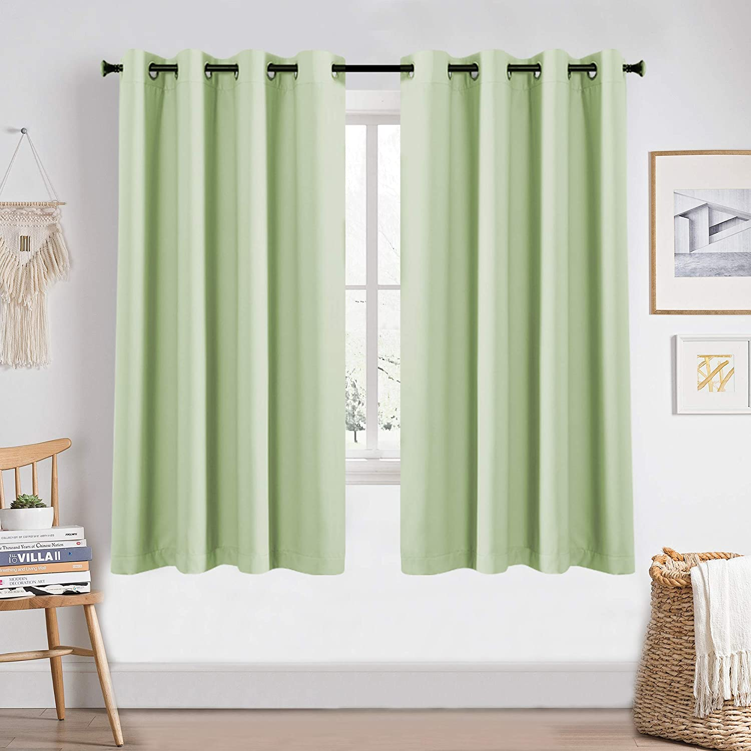 KEQIAOSUOCAI 2 Pcs Mint Green 72 Inch Blackout Curtains for Girls Room Home Decor Thermal Insulated Window Treatments Grommet Light Green Curtains Drapes for Nursery Living Room
