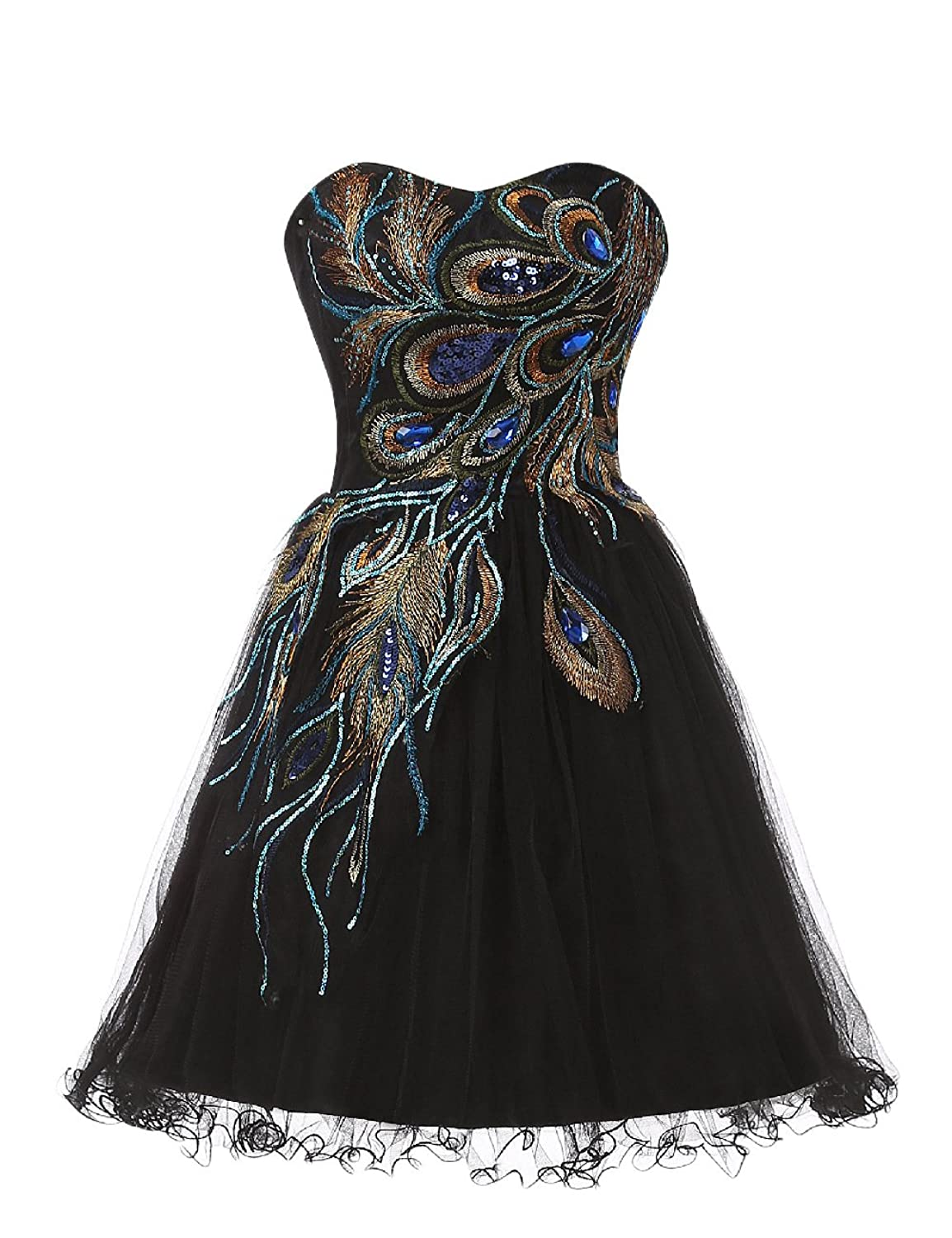 VIVIANSBRIDAL Sweetheart Short Embroidery Tulle Prom Homecoming Dress Black