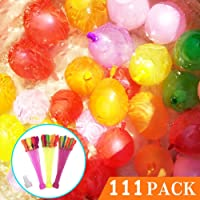 111 Multicolored Water Balloons with 3 Bunches Filled in 1 Minute and Self-tying, Summer Party Fight Games for Kids and Adults