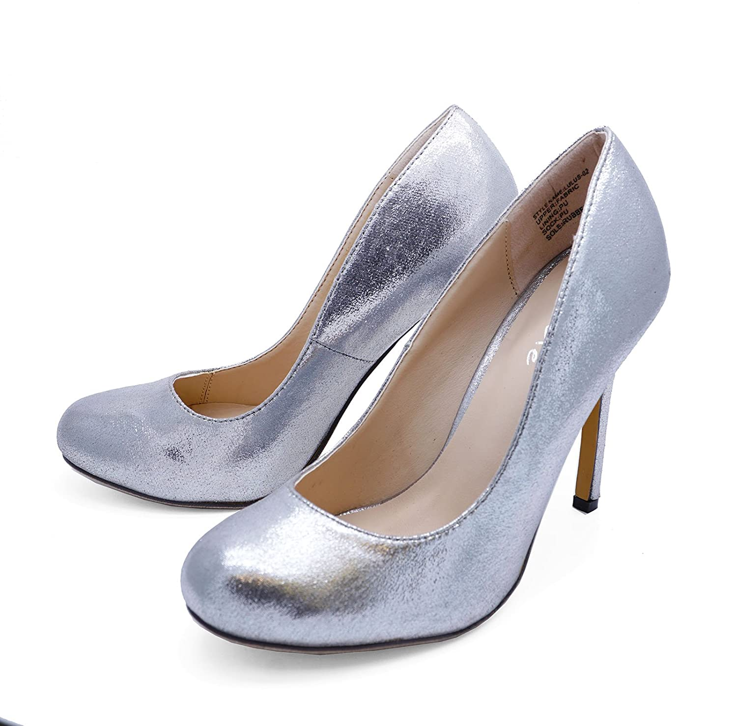 Ladies Silver Slip-On High Heel Elegant Wedding Prom Court Smart Shoes Sizes 3-8: Amazon.co.uk: Shoes & Bags