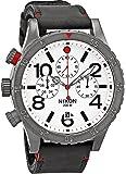 Nixon Homme Chronographe Bracelet Cuir Noir Boitier Acier Inoxydable Quartz Cadran Blanc Montre A363486