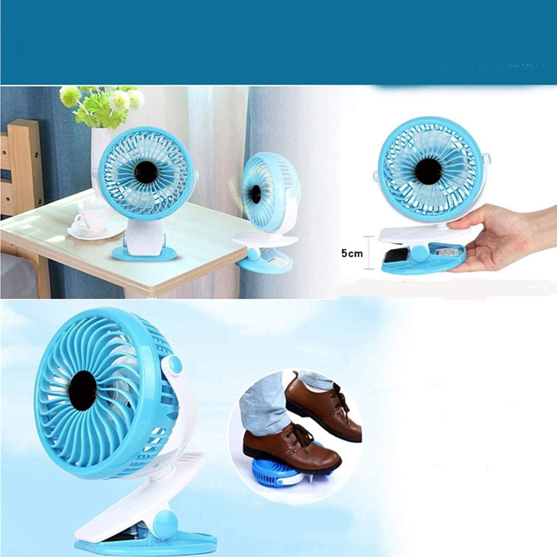 Mini Portable Cooling Fan Mini Clip Fan USB Small Fan Student Portable Walking Home Clip Fan Desktop Baby Trolley Car Fan Color : Blue