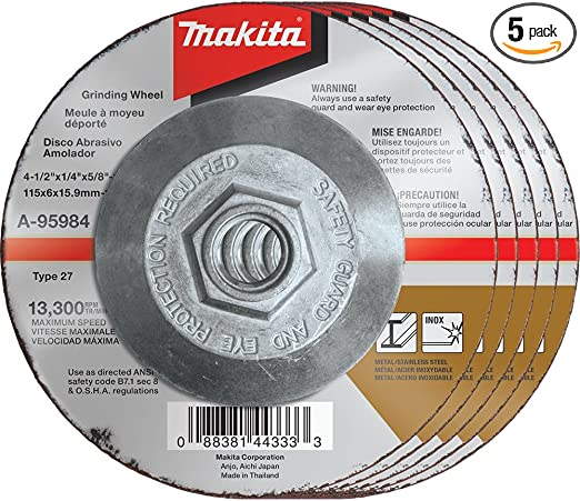 "Makita A-95962-25 25pk 5/""x1//4/""x7//8/"" INOX Grinding Wheel 36 Grit 4x New"